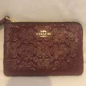 Coach wristlet - dark red NWT and box